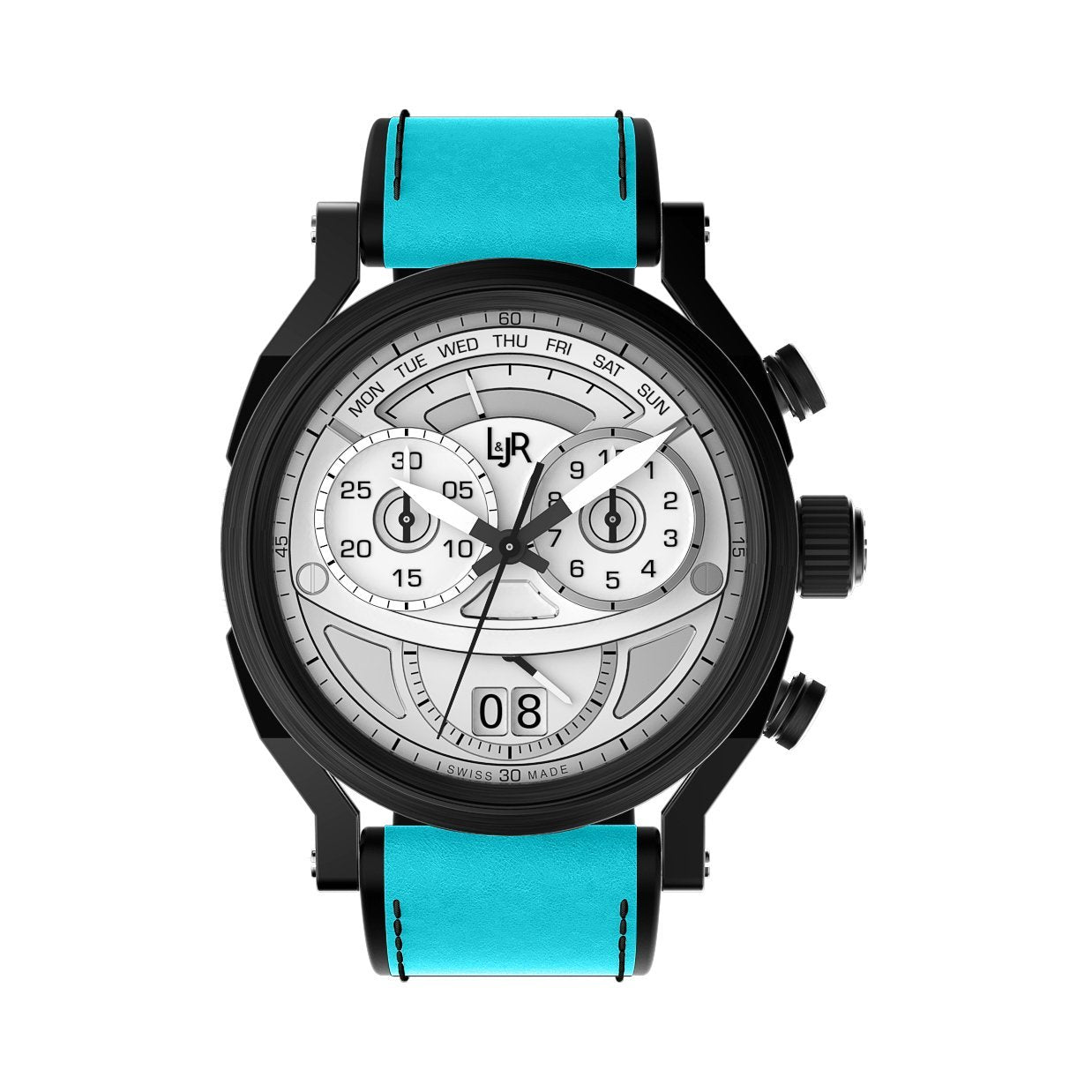 L&Jr Chronograph Day and Date Black PVD Silver Blue