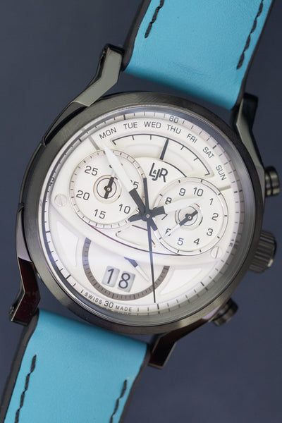 L&Jr Chronograph Day and Date Black PVD Silver Blue - Watches & Crystals
