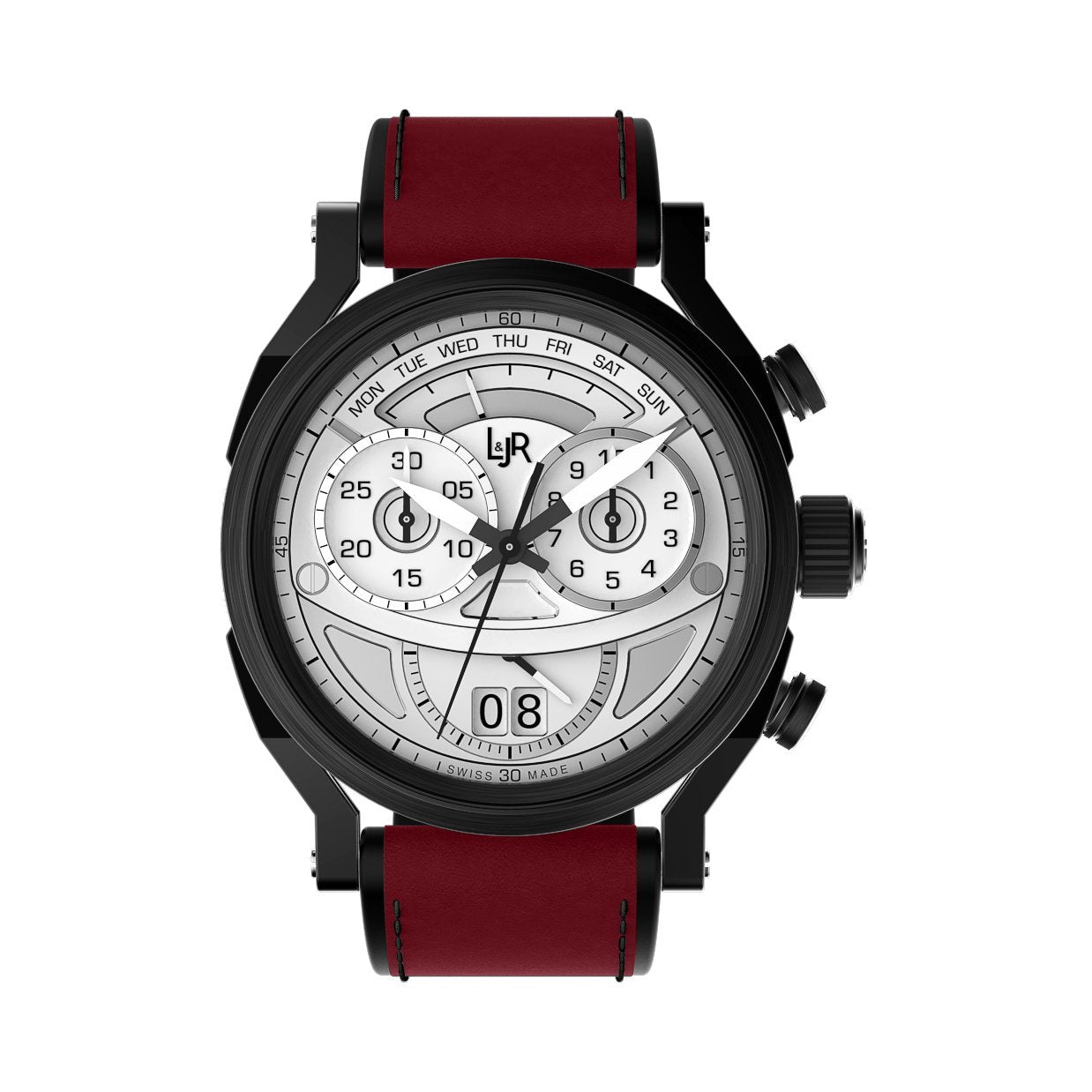 L&Jr Chronograph Day and Date Black PVD Silver Burgundy - Watches & Crystals