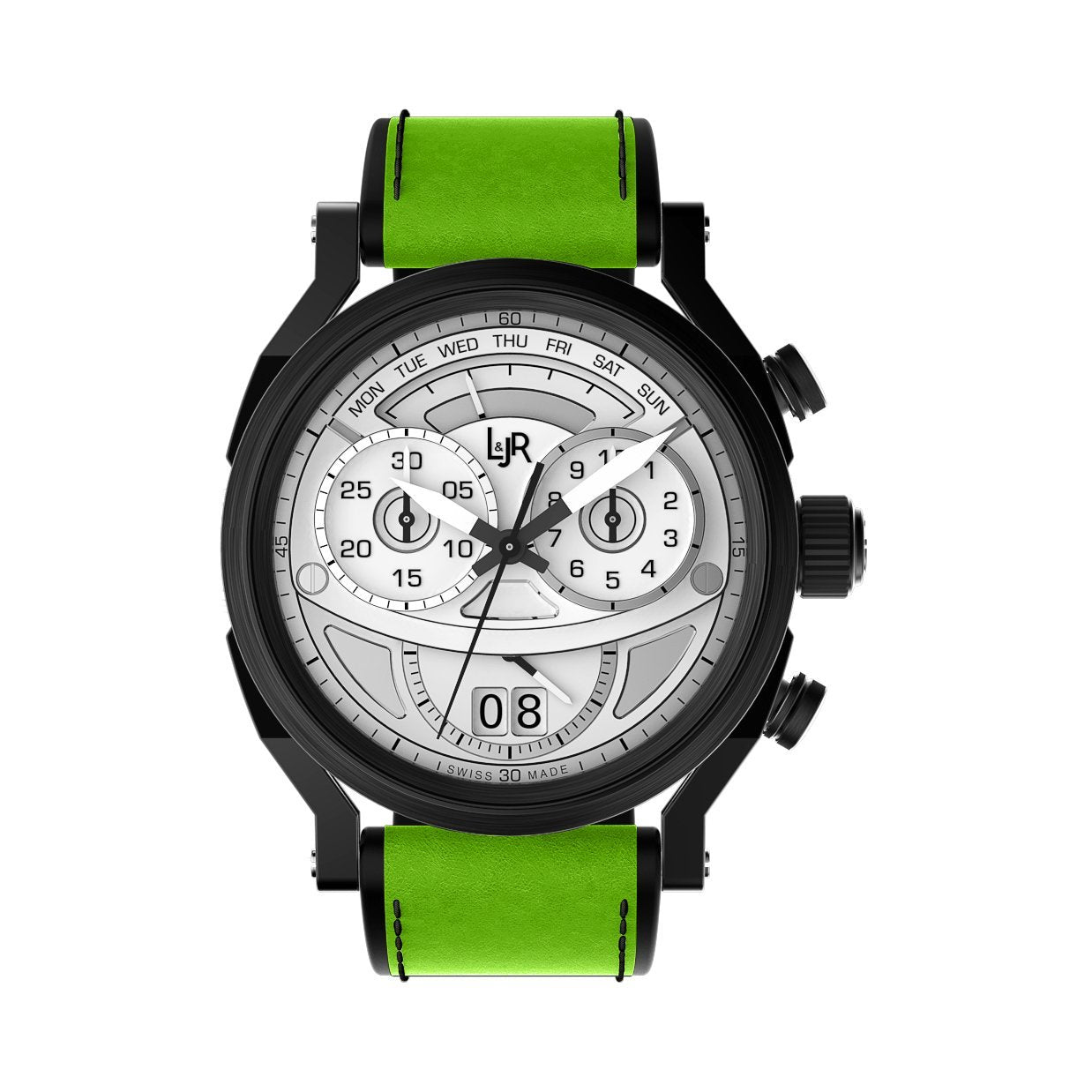 L&Jr Chronograph Day and Date Black PVD Silver Green