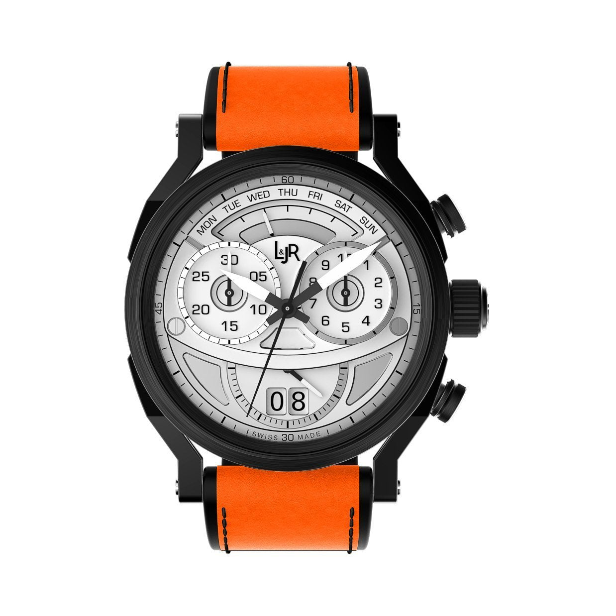 L&Jr Chronograph Day and Date Black PVD Silver Orange - Watches & Crystals