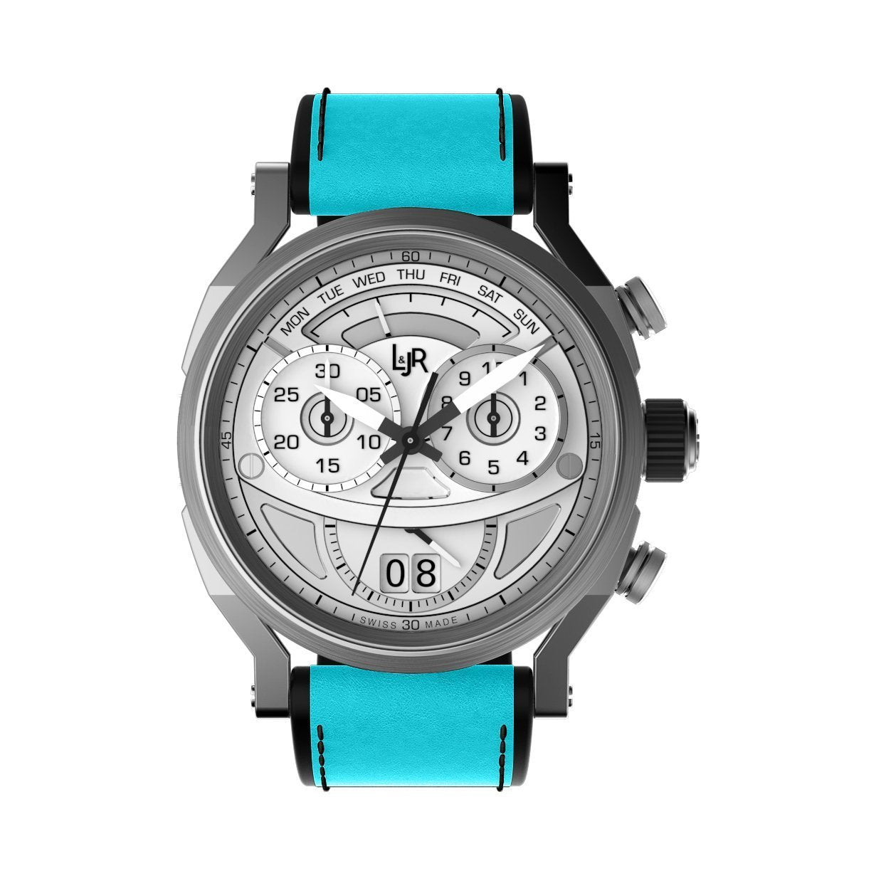 L&Jr Chronograph Day and Date Silver Blue