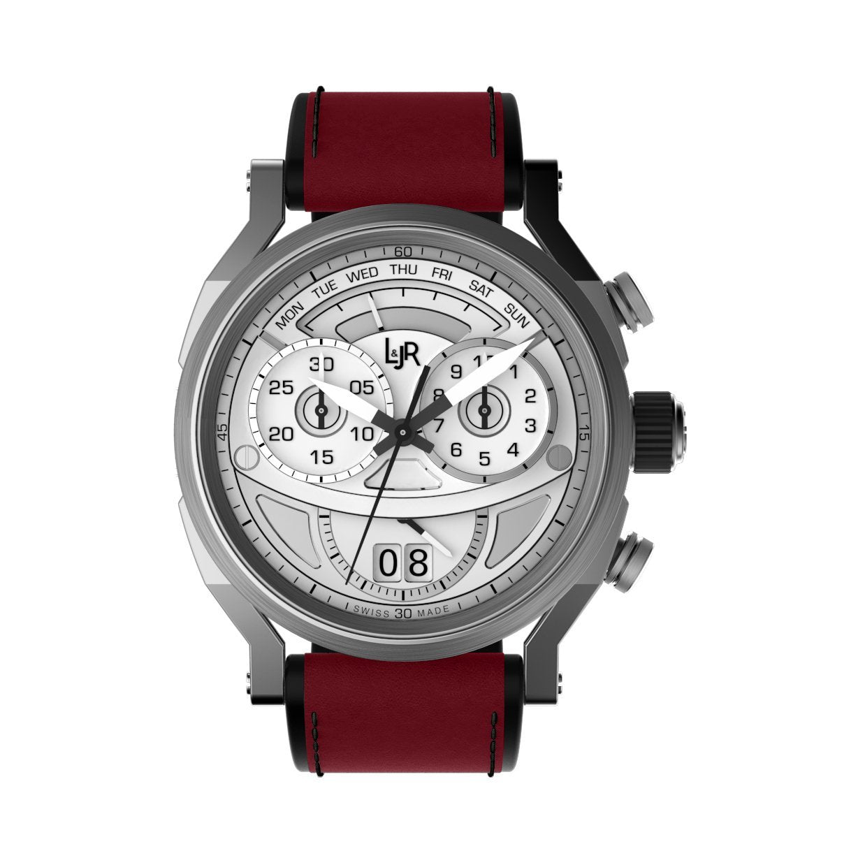 L&Jr Chronograph Day and Date Silver Burgundy - Watches & Crystals