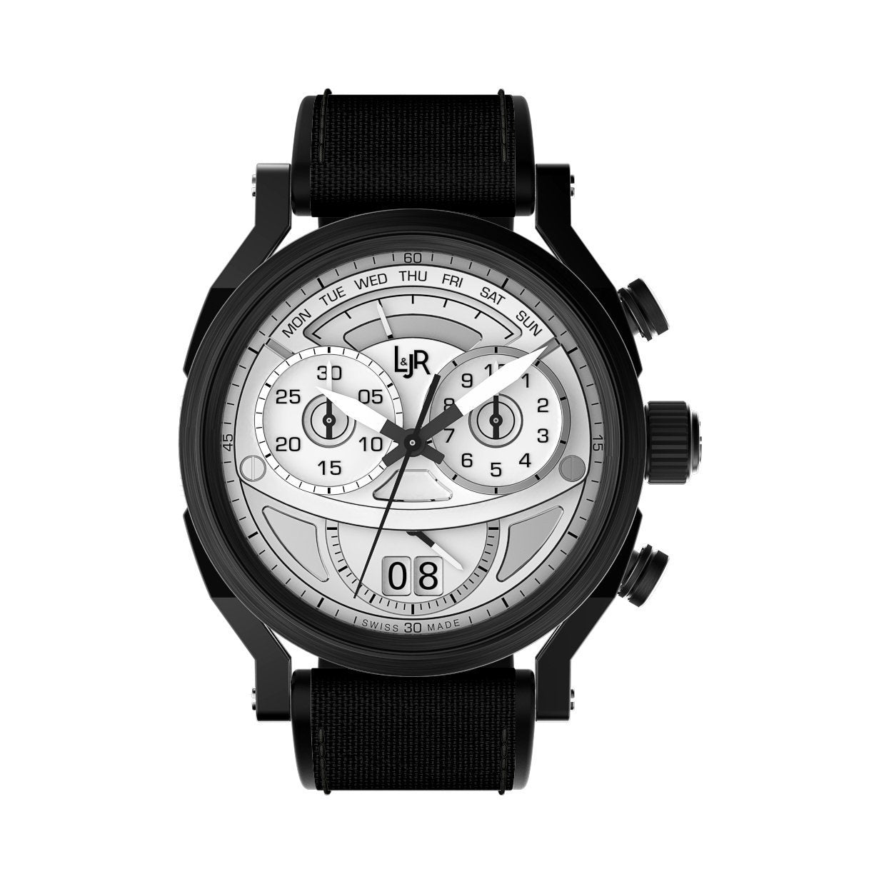 L&Jr Chronograph Day and Date Silver Nylon