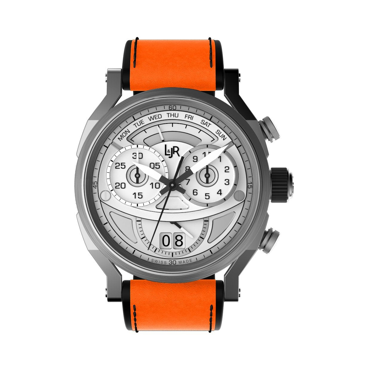 L&Jr Chronograph Day and Date Silver Orange