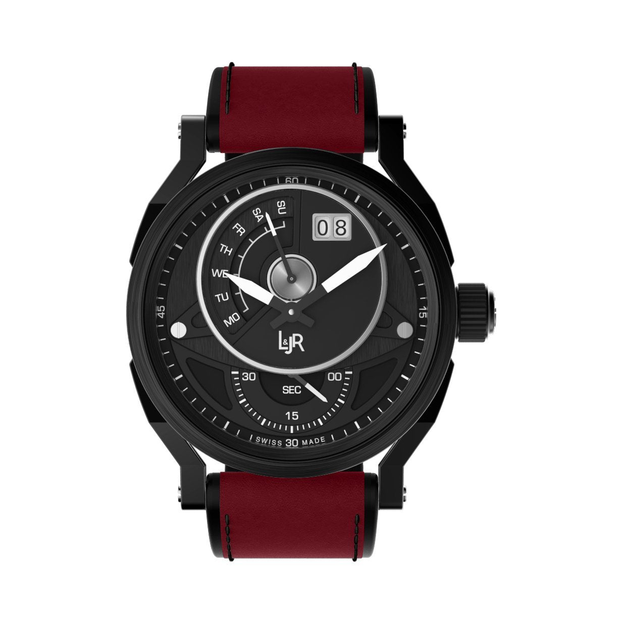 L&Jr Day and Date Black PVD Burgundy