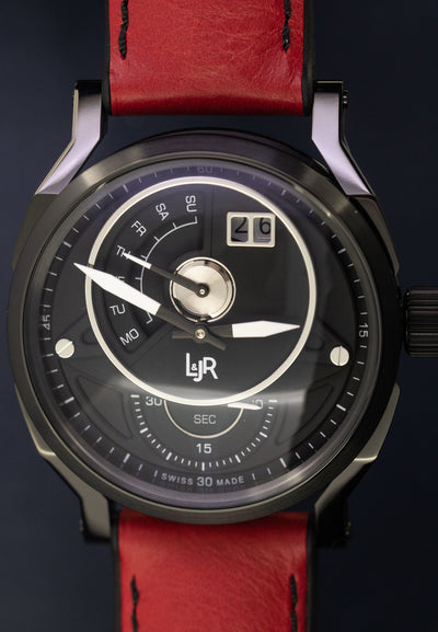 L&Jr Day and Date Black PVD Burgundy - Watches & Crystals