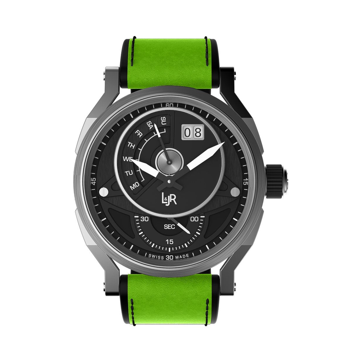 L&Jr Day and Date Black PVD Green