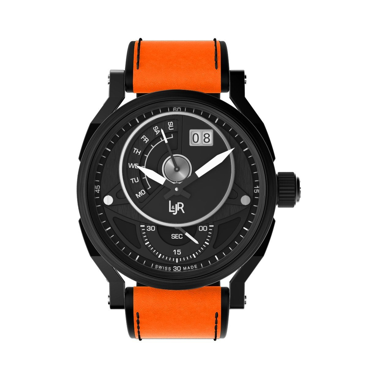 L&Jr Day and Date Black PVD Orange