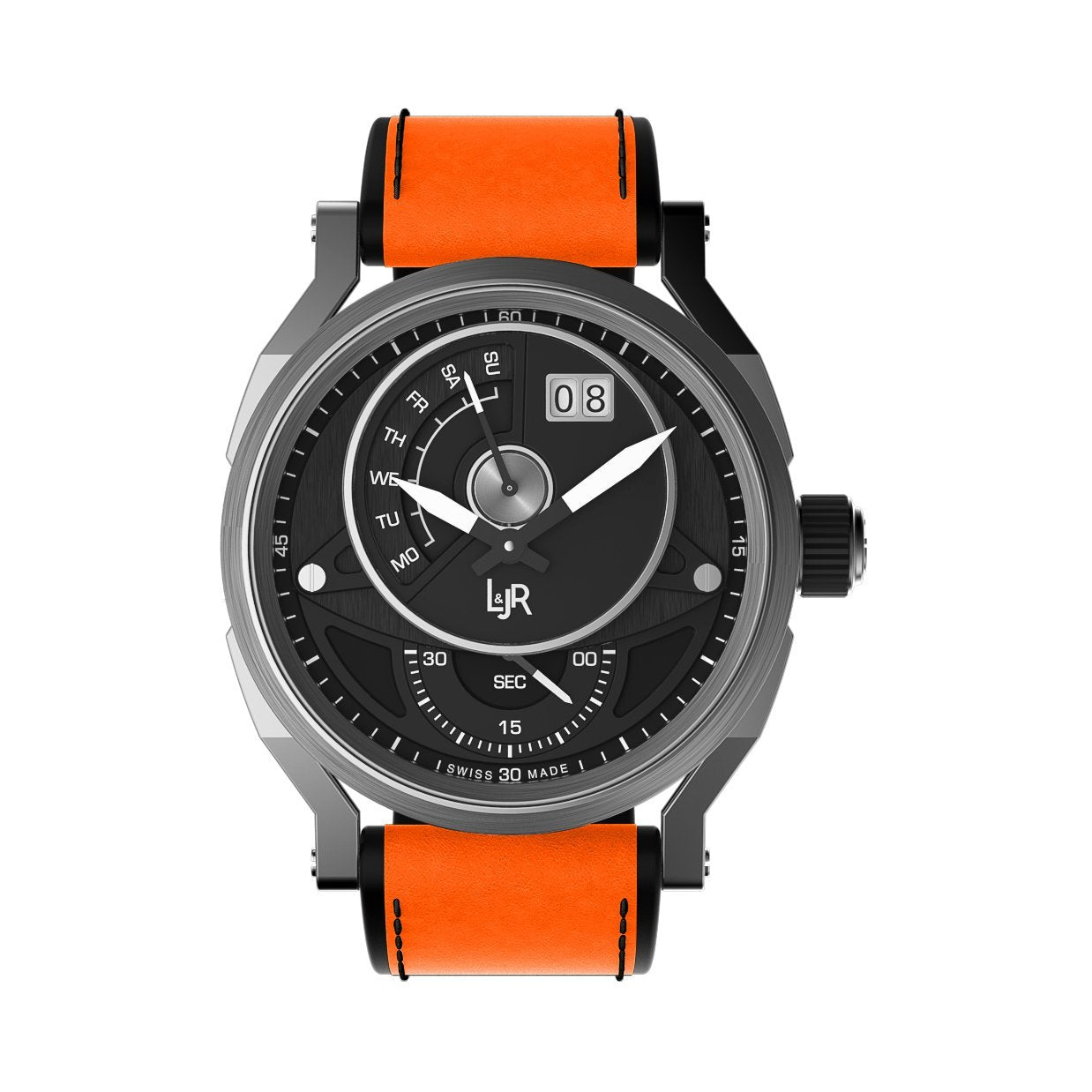 L&Jr Day and Date Steel Black Orange