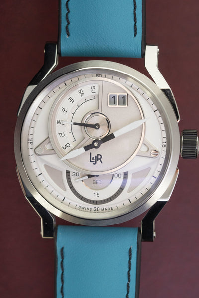 L&Jr Watch Day and Date Silver Dial with Blue Strap S1304-S9 - Watches & Crystals