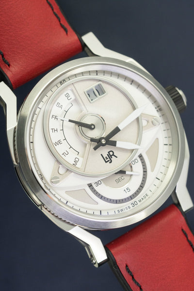 L&Jr Watch Day and Date Silver Dial with Burgundy Strap S1304-S12 - Watches & Crystals