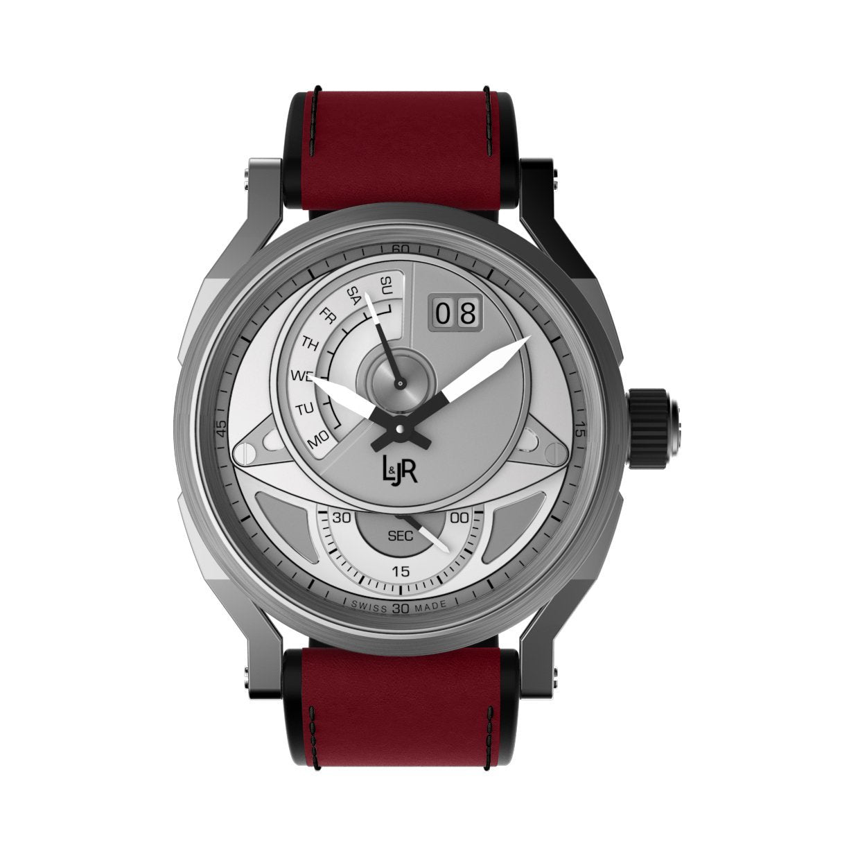 L&Jr Watch Day and Date Silver Dial with Burgundy Strap S1304-S12