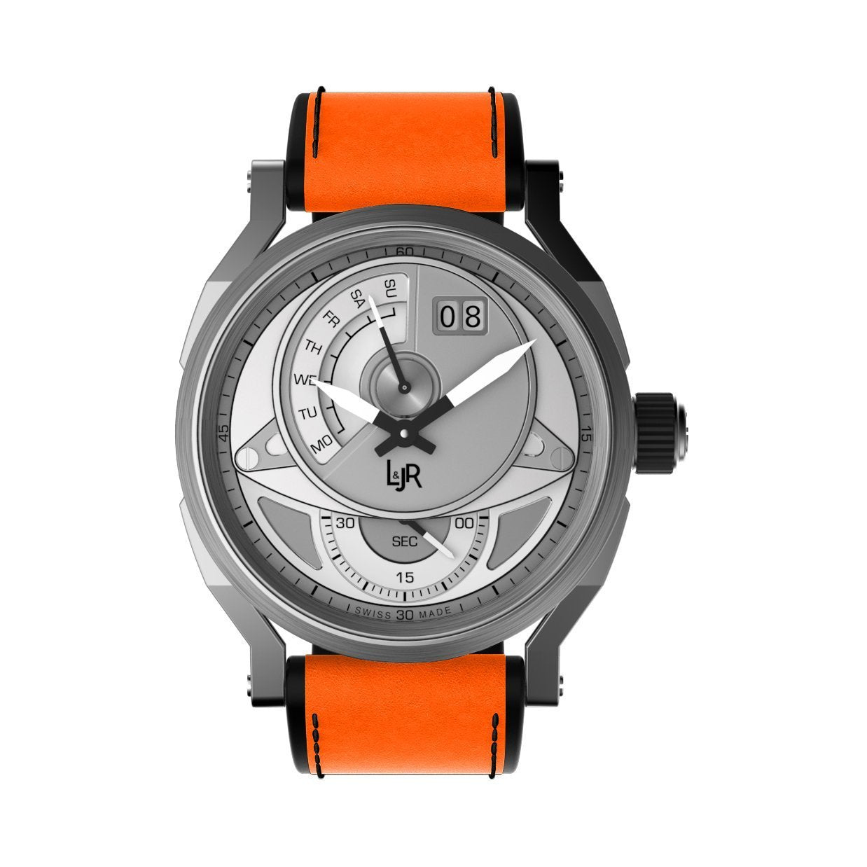 L&Jr Watch Day and Date Silver Dial with Orange Strap S1304-S4