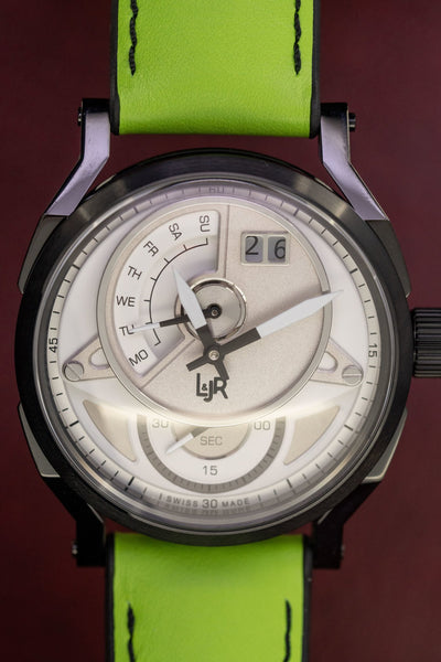 L&Jr Watch Day and Date White Dial with Green Strap S1301-S11 - Watches & Crystals