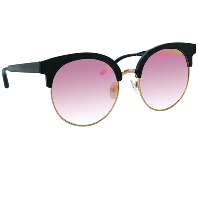 Matthew Williamson Sunglasses Round Black Aluminium with Peach Lenses MW160C11SUN - Watches & Crystals