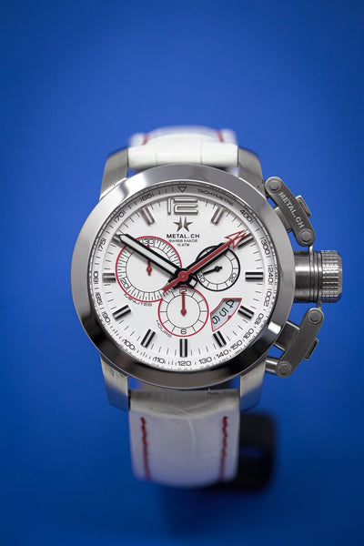 Metal.CH Chronograph 47MM Date White - Watches & Crystals