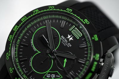 Metal.CH Chronosport Chronograph 44MM Date Black/Green - Watches & Crystals