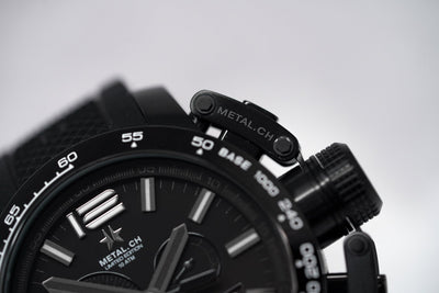 Metal.CH Chronosport Chronograph 47MM Date Black/Silver - Watches & Crystals