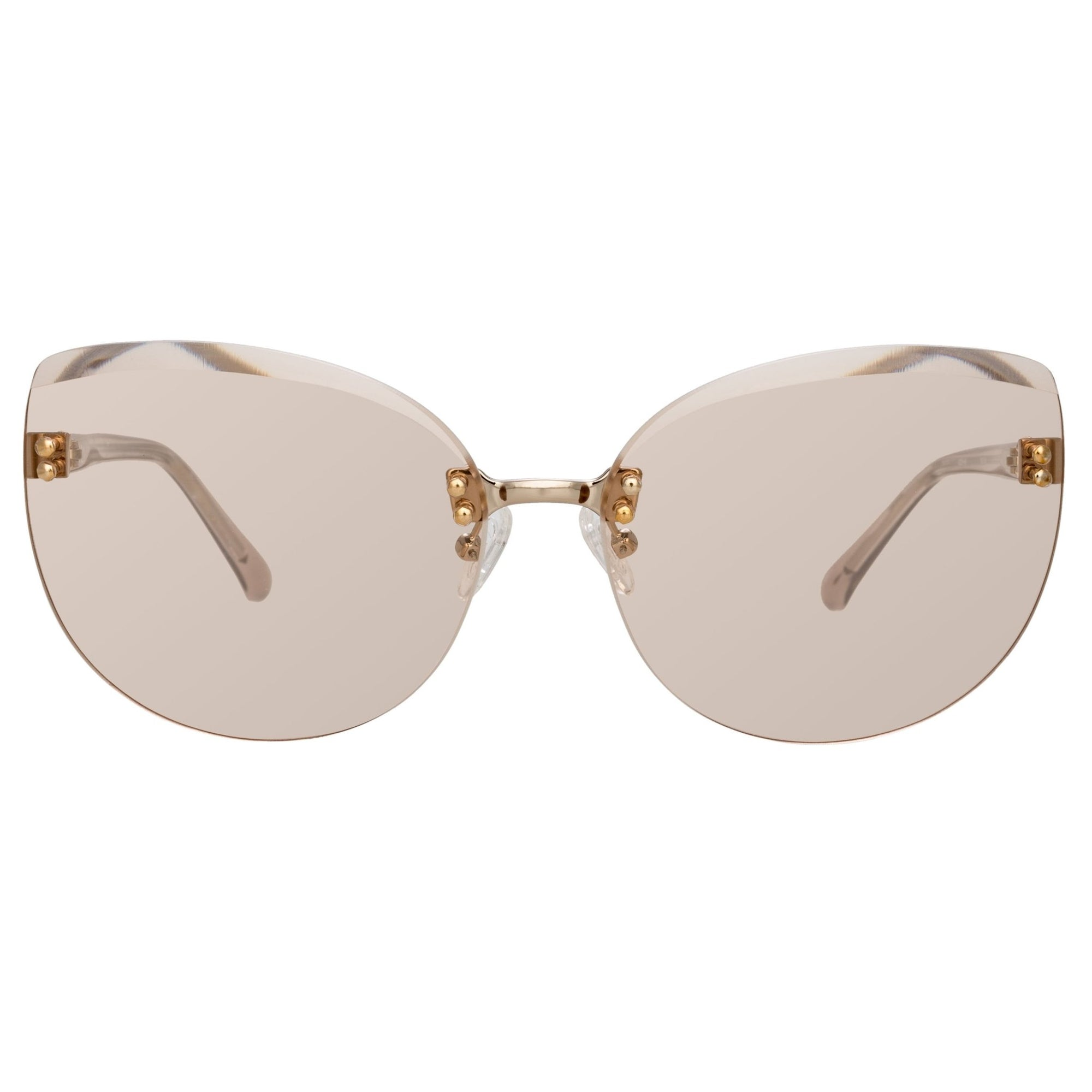 NO 21 Sunglasses Cat Eye Clear Acetate and Rose Gold with CAT1 Peach Lenses - N21S15C5SUN - Watches & Crystals