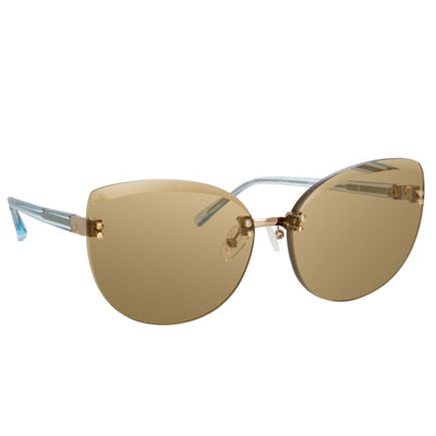 NO 21 Sunglasses Women Cat Eye Clear Blue and Rose Gold with CAT2 Tobacco Lenses - N21S15C4SUN - Watches & Crystals