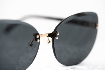 NO 21 Sunglasses Women's Cat Eye Black and Yellow Gold with CAT3 Grey Lenses - N21S15C1SUN - Watches & Crystals