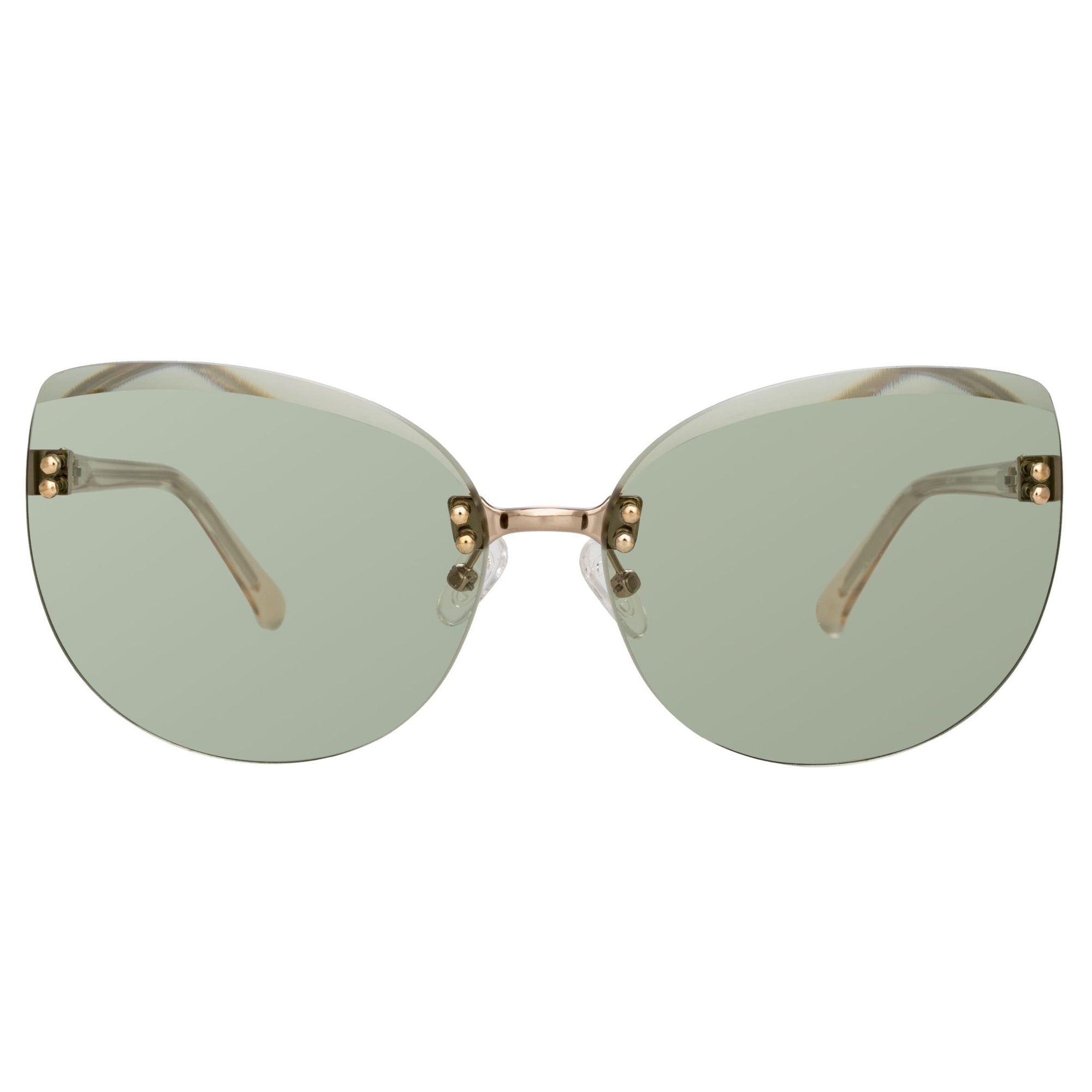 NO 21 Sunglasses Women's Cat Eye Light Gold with CAT1 Green Lenses - N21S15C3SUN - Watches & Crystals