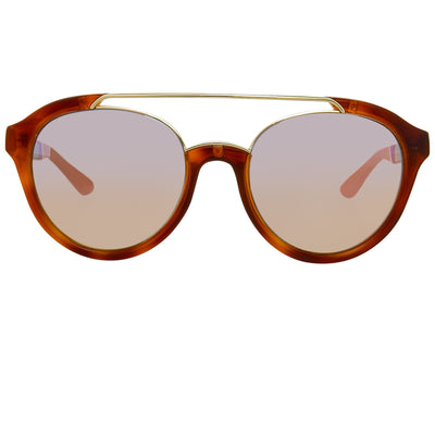 Orlebar Brown Sunglasses Oval Amber Tortise Shell with Orange Lenses OB42C3SUN - Watches & Crystals
