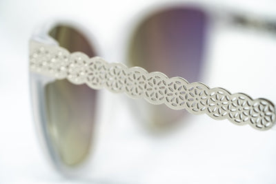 Oscar De La Renta Sunglasses Oval Ivory White and Grey Lenses - ODLR52C6SUN - Watches & Crystals