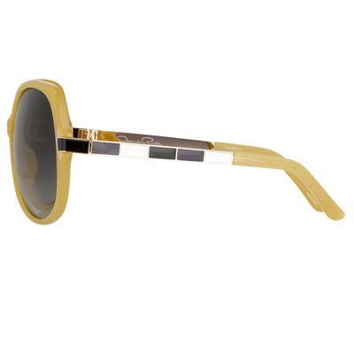 Oscar De La Renta Sunglasses Oversized Frame Beige Enamel Arms and Grey Lenses - ODLR22C4SUN - Watches & Crystals