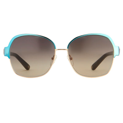 Oscar De La Renta Sunglasses Oversized Frame Light Gold Aquamarine Enamel and Grey Lenses - ODLR50C1SUN - Watches & Crystals
