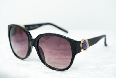 Oscar De La Renta Women Sunglasses Gemstones Oversized Frame Black and Burgundy Lenses - ODLR19C1SUN - Watches & Crystals