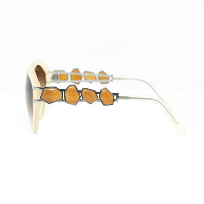 Oscar De La Renta Women Sunglasses Gemstones Oversized Frame Nude and Brown Graduated Lenses - ODLR20C5SUN - Watches & Crystals