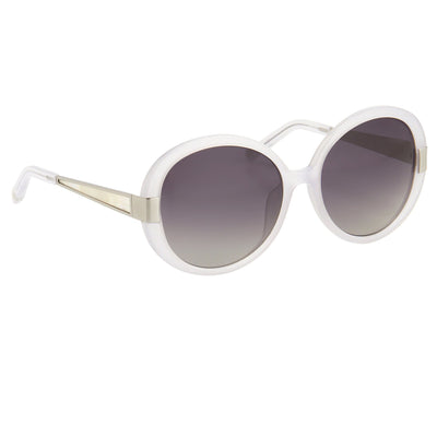Oscar De La Renta Women Sunglasses Round Ivory White Mother of Pearl and Grey Lenses - ODLR5C8SUN - Watches & Crystals
