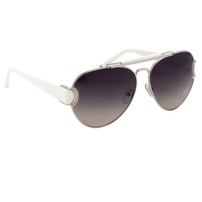 Oscar De La Renta Women Sunglasses White Silver and Dark Grey Lenses Category 3 - ODLR53C3SUN - Watches & Crystals