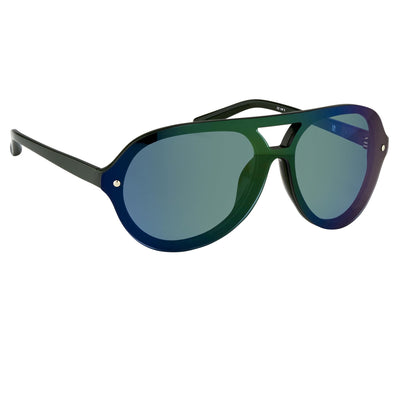 Phillip Lim Sunglasses Aviator Male Hunter Beetle Green CAT3 Dark Tint Green Mirror Lenses - PL117C5SUN - Watches & Crystals