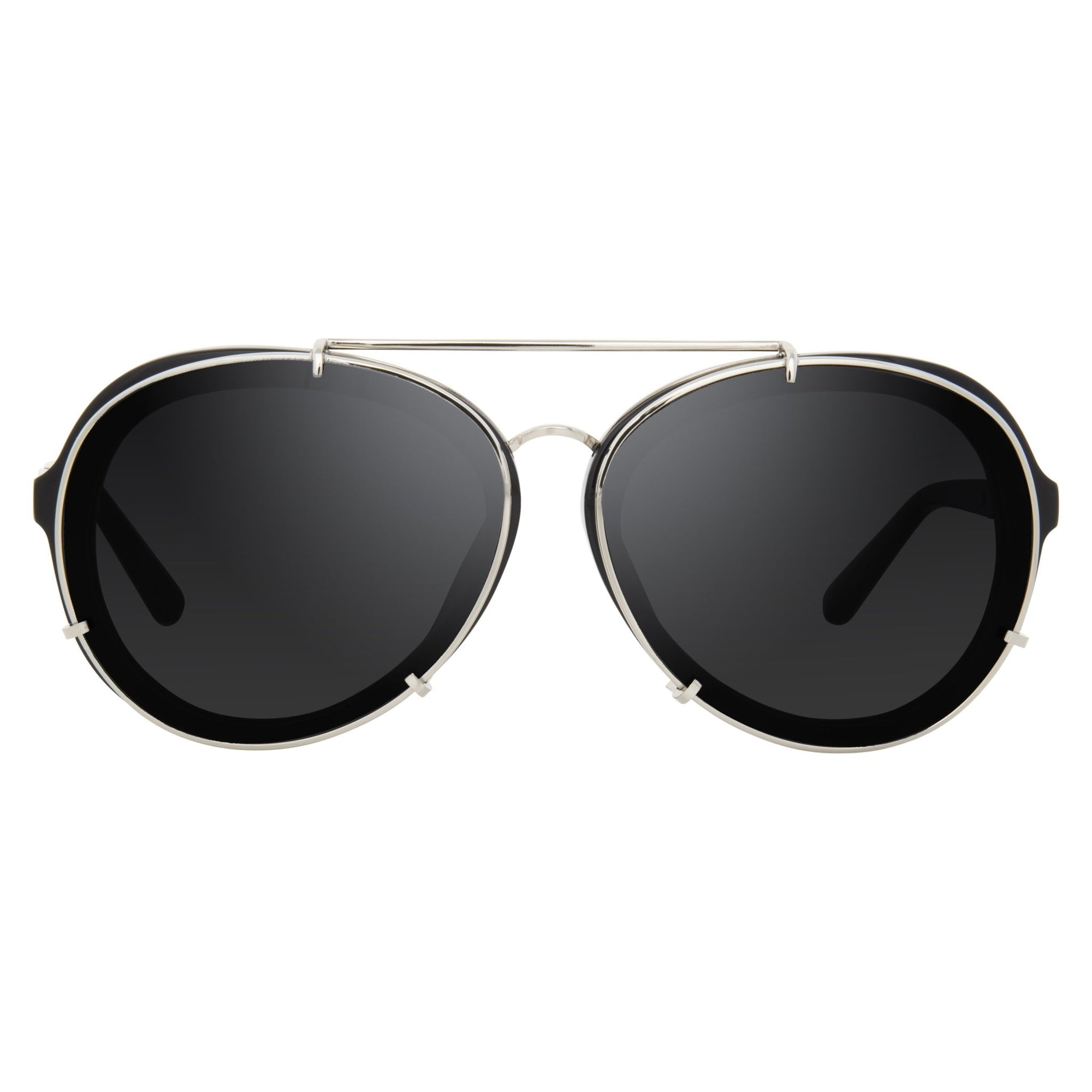Phillip Lim Sunglasses Black and Silver Aviator with Bang Bang Black Lenses Category 4 - PL170C7SUN - Watches & Crystals