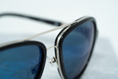 Phillip Lim Sunglasses Black Shiny Silver and Blue Mirror Lenses Category 3 - PL16C23SUN - Watches & Crystals
