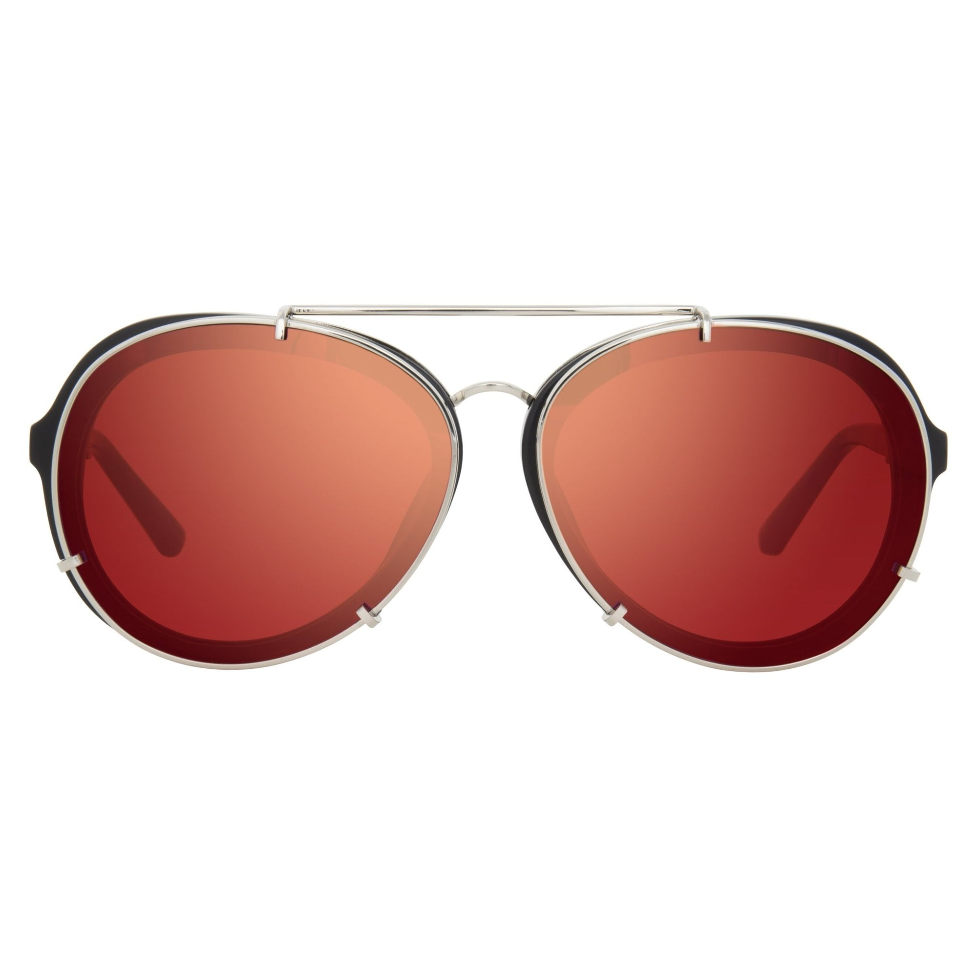 Phillip Lim Sunglasses Brushed Black and Nickel Aviator with Red Mirror Lenses Category 2 - PL170C6SUN - Watches & Crystals