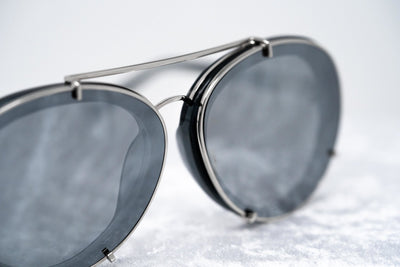 Phillip Lim Sunglasses Charcoal and Nickel Aviator with Silver Mirror Lenses Category 3 - PL170C4SUN - Watches & Crystals