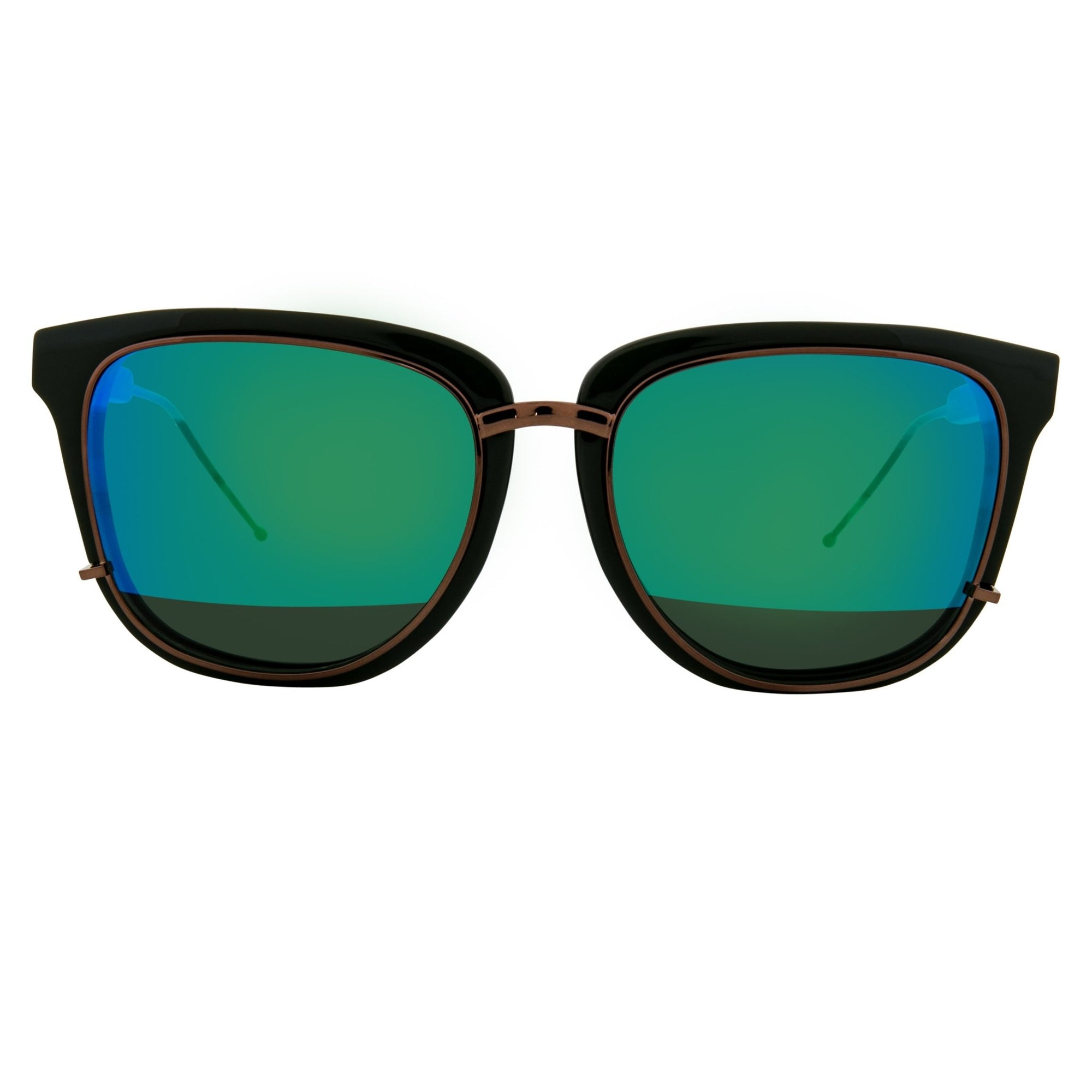 Phillip Lim Sunglasses Hunter Green and Bronze D-Frame with Green Mirror to Green Lenses Category 3 - PL176C6SUN - Watches & Crystals