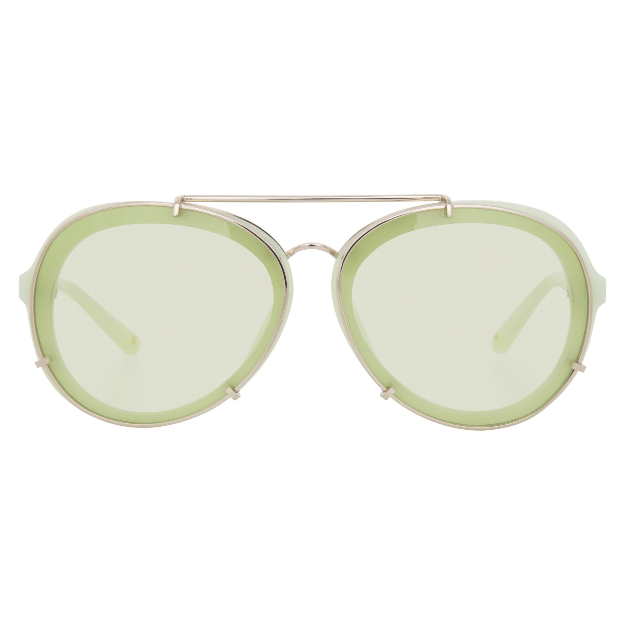 Phillip Lim Sunglasses Light Green and Gold Aviator with Light Green Lenses Category 1 - PL170C2SUN - Watches & Crystals