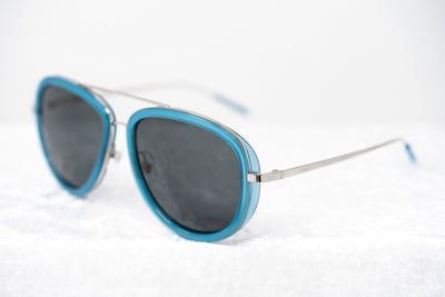 Phillip Lim Sunglasses Men's Aviator Turquoise Nickel with Dark Grey Lenses Category 3 - PL139C6SUN - Watches & Crystals
