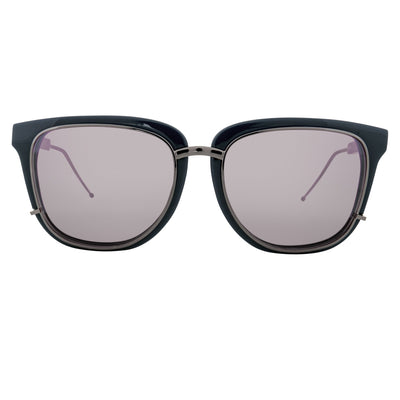 Phillip Lim Sunglasses Navy and Gunmetal D-Frame with Black Mirror to Purple Lenses Category 3 - PL176C4SUN - Watches & Crystals
