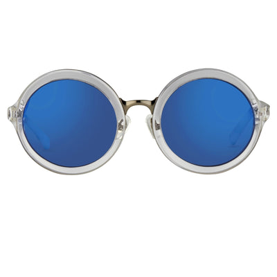 Phillip Lim Sunglasses Round Female Clear and Gun Metal with CAT3 Blue Mirror Lenses - PL11C25SUN - Watches & Crystals