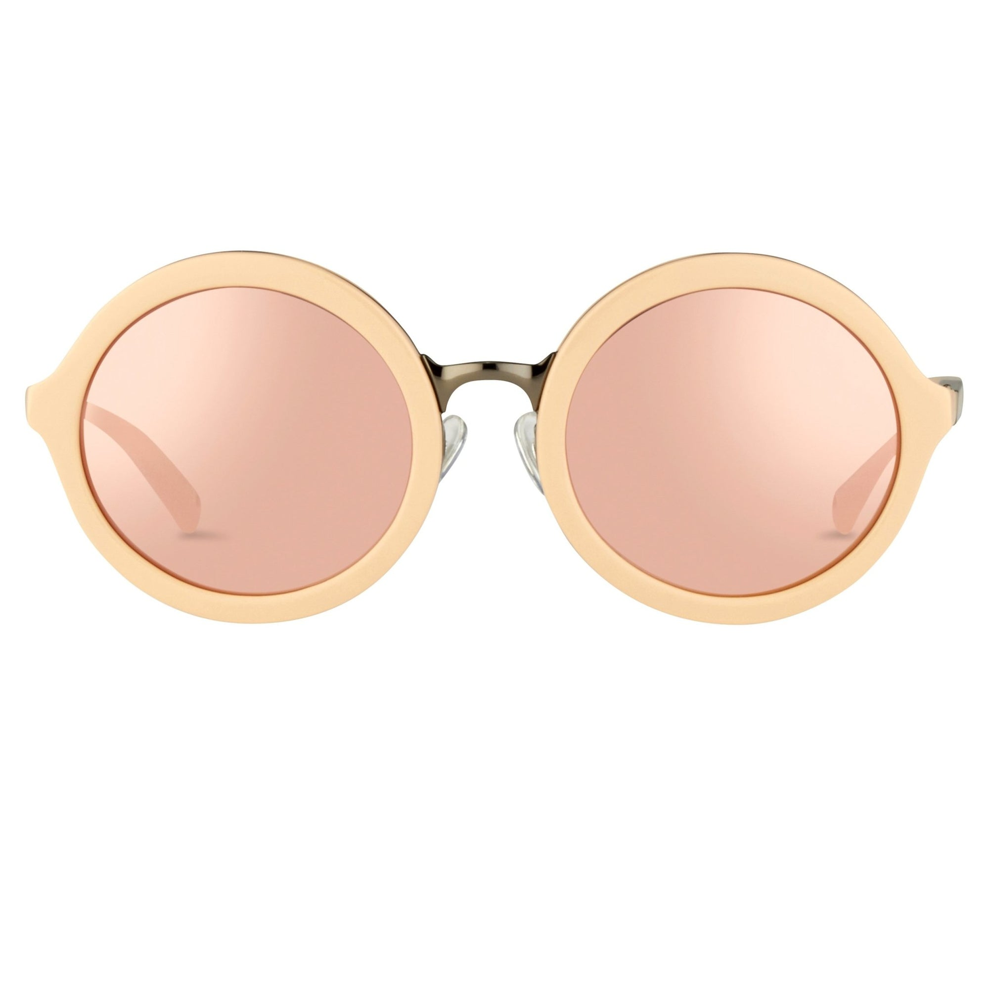 Phillip Lim Sunglasses Round Female Pink Gold with CAT3 Peach/Blue Mirror Lenses - PL11C26SUN - Watches & Crystals