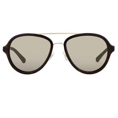 Phillip Lim Sunglasses Tortoiseshell Matte Gold and Turquoise Mirror Lenses Category 3 - PL16C24SUN - Watches & Crystals