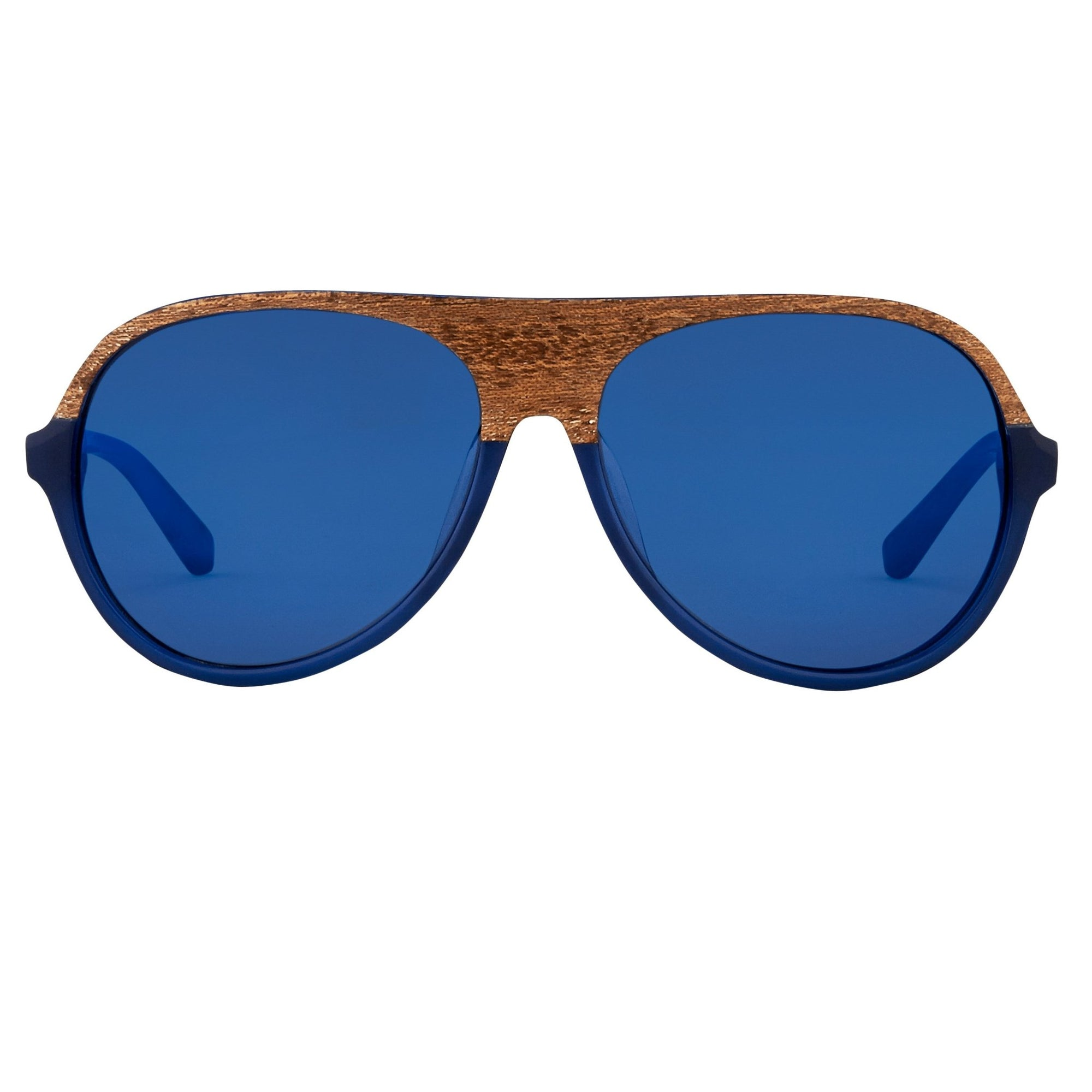 Phillip Lim Sunglasses Unisex Aviator Clear Blue and Brown Wood with CAT3 Blue Mirror Lenses PL126C4SUN - Watches & Crystals