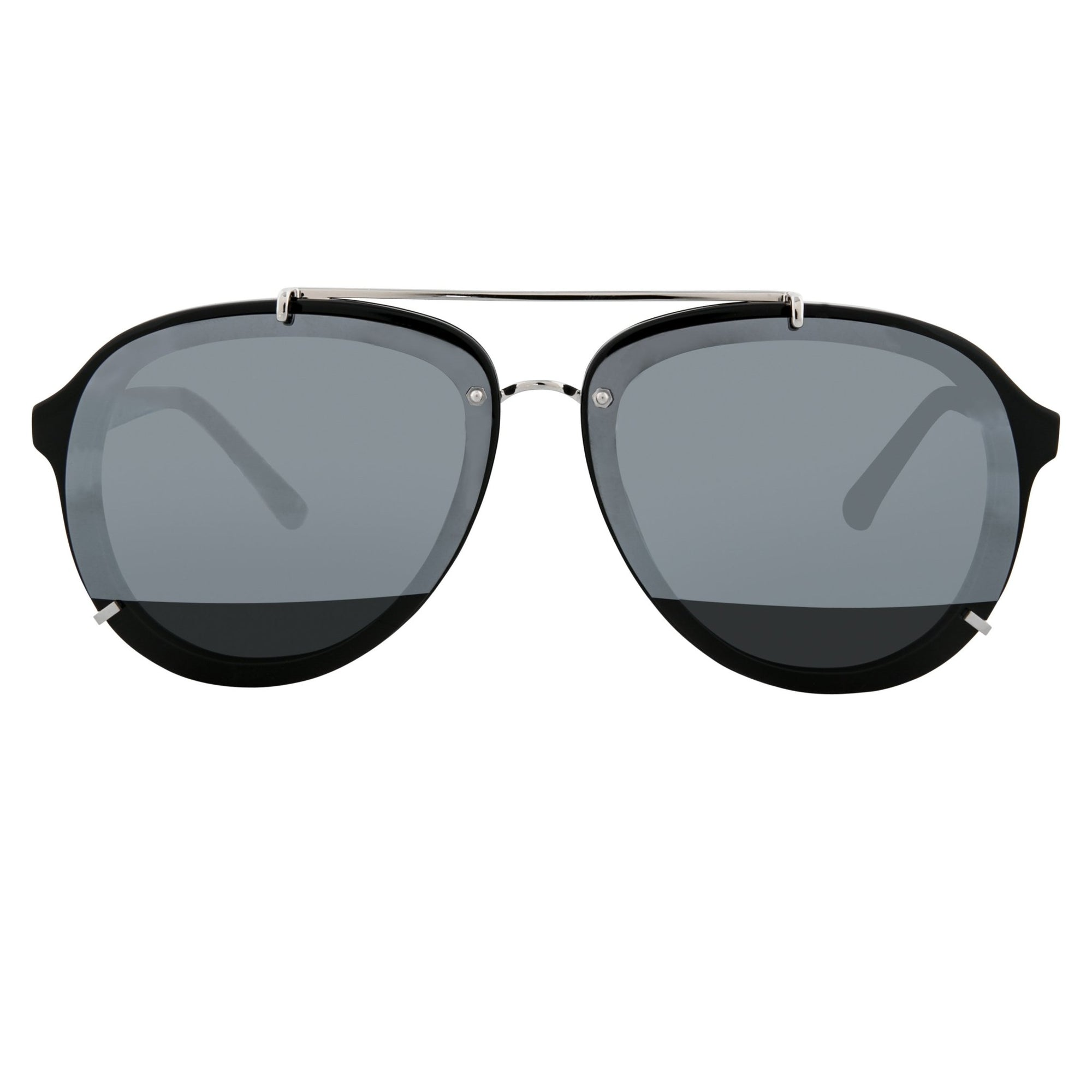 Phillip Lim Sunglasses Unisex Black and Silver Aviator with Silver Mirror to Black Lenses Category 4 - PL162C9SUN - Watches & Crystals
