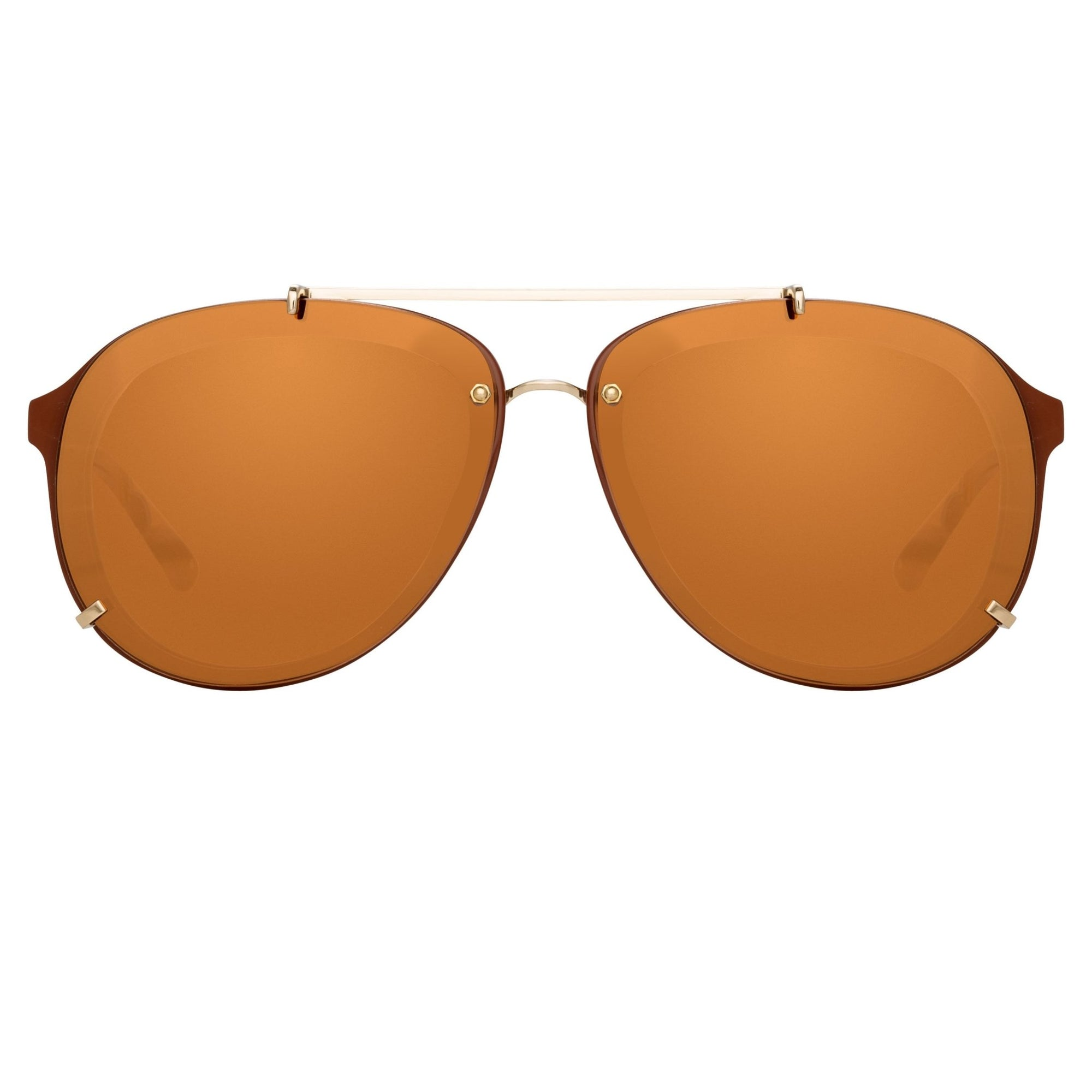 Phillip Lim Sunglasses Unisex Rust and Light Gold Aviator with Rust Mirror Lenses Category 3 - PL162C13SUN - Watches & Crystals